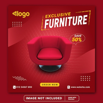 Exclusive furniture sale social media instagram post banner template or square flyer