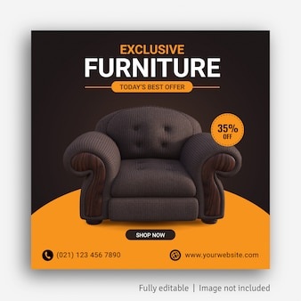 Exclusive furniture sale social media post advertising banner template