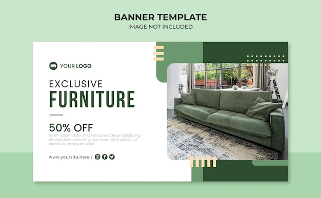 Exclusive furniture web banner template
