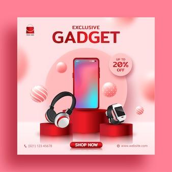 Exclusive gadget sale promotion social media instagram post banner template