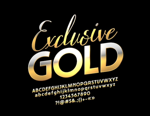 Exclusive gold alphabet elegant font luxury set of glamour letters numbers and symbols