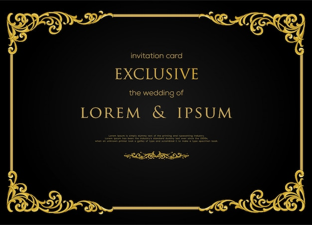 Exclusive invitation card design with luxury gold color frame and decorative element