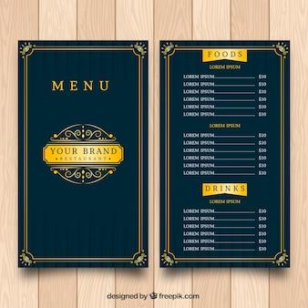 Эксклюзивный шаблон меню с золотой рамкой