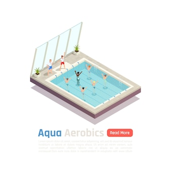 Exclusive water aerobic weight loss exercise class for women with aqua fitness instructors isometric composition  banner
