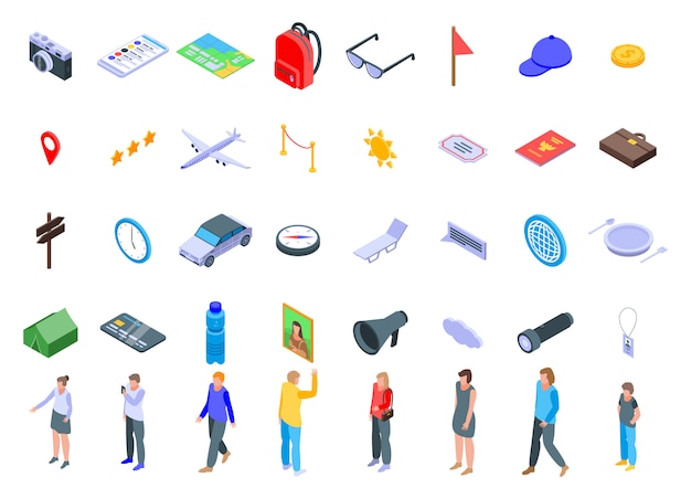 Excursion icons set, isometric style