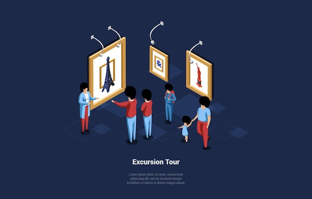 Excursion tour illustration in cartoon style. isometric 3d composition