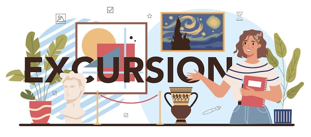 Excursion typographic header. student studying art history at school. teacher tell students about history of painting, sculpting and architecture. flat vector illustration