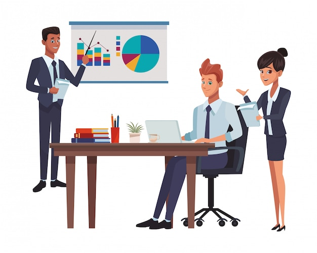 Executive business coworkers cartoon