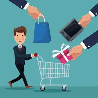 Исполнительный мужчина с корзины покупок и руки с покупками товаров