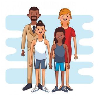 Executive parents with girls cartoon vector illustration graphic design