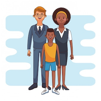 Executive parents with son cartoon vector illustration graphic design