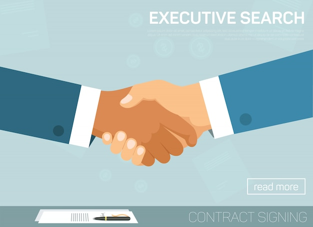 Executive search, handshake for successful deal.