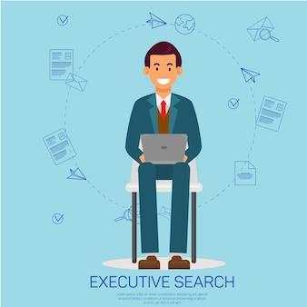 Executive search, человек с ноутбуком, анализируя резюме.