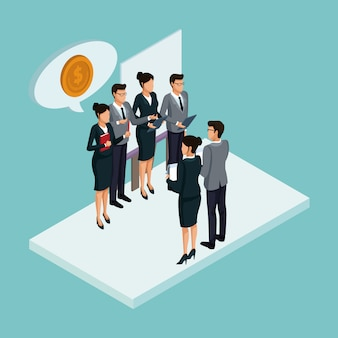 Executives at business meeting isometric concept