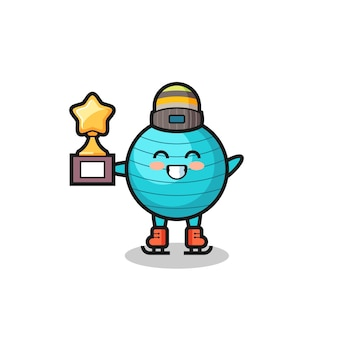 Exercise ball cartoon as an ice skating player hold winner trophy , cute style design for t shirt, sticker, logo element