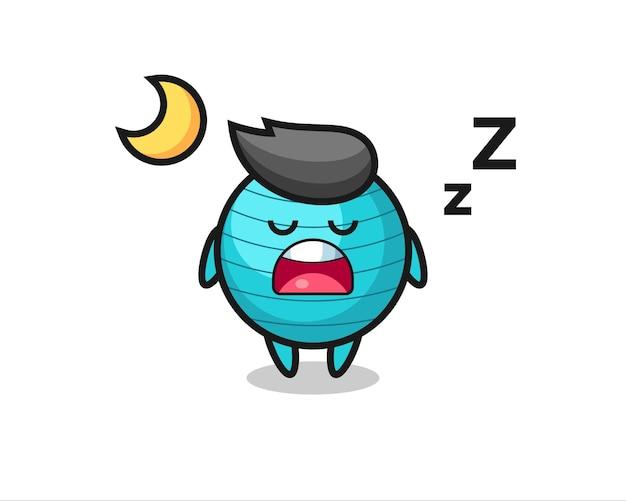 夜寝るエクササイズボールのキャラクターイラスト、tシャツ、ステッカー、ロゴ要素のかわいいスタイルのデザイン