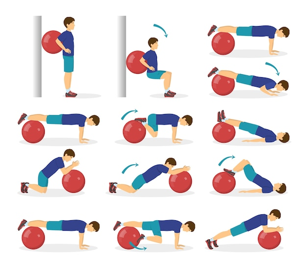 Exercise ball workout set. idea of body health and training in the gym. healthy lifestyle. workout with equipment.   illustration in cartoon style