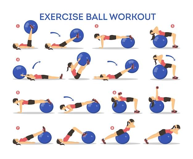 운동 공 운동 세트. 체육관에서의 신체 건강 및 훈련에 대한 아이디어. 건강한 생활. 장비를 사용한 운동. 만화 스타일의 그림