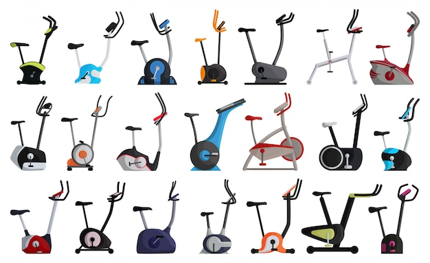 Велотренажер мультфильм набор иконок. изолированный мультфильм набор значок фитнес велосипед. велотренажер иллюстрации на белой предпосылке.