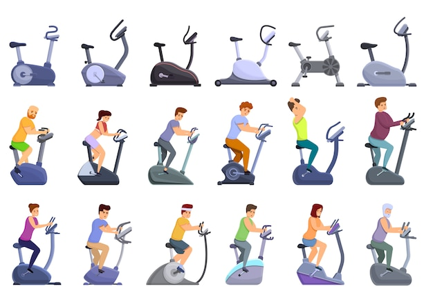 Exercise bike icons set, cartoon style