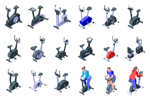 Exercise bike icons set, isometric style