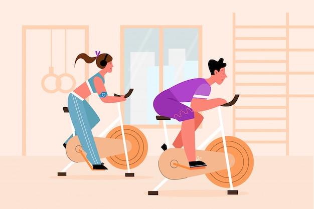 운동 자전거, 사람들 훈련 장치 벡터 일러스트 레이션