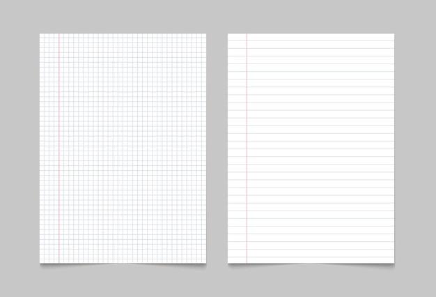 練習帳の紙のページの背景。ノートシートの裏地付きテクスチャパターン。