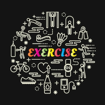 Exercise colorful gradient with line icons set