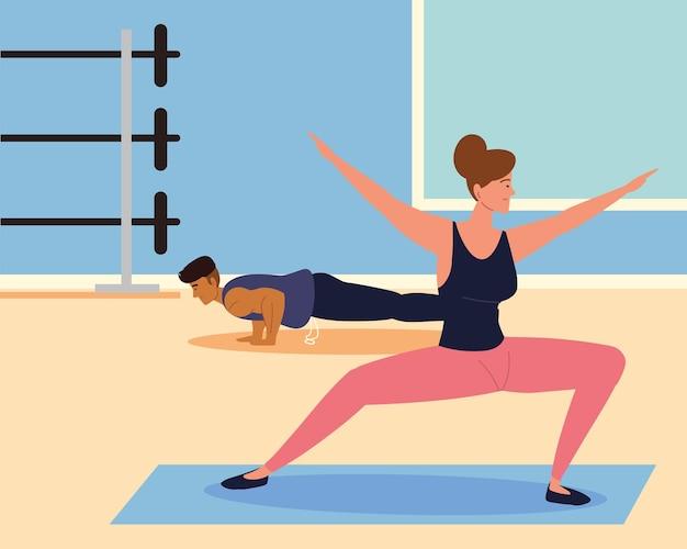 체육관에서 운동 커플