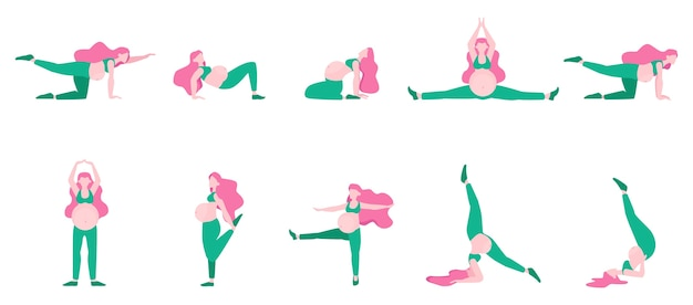 임산부를위한 운동 세트. 임신 중 스포츠. 활동적이고 건강한 라이프 스타일에 대한 아이디어. 벽면. 삽화