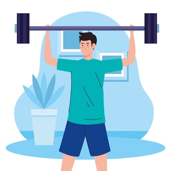 Exercise at home, man lifting weight, using the house as a gym