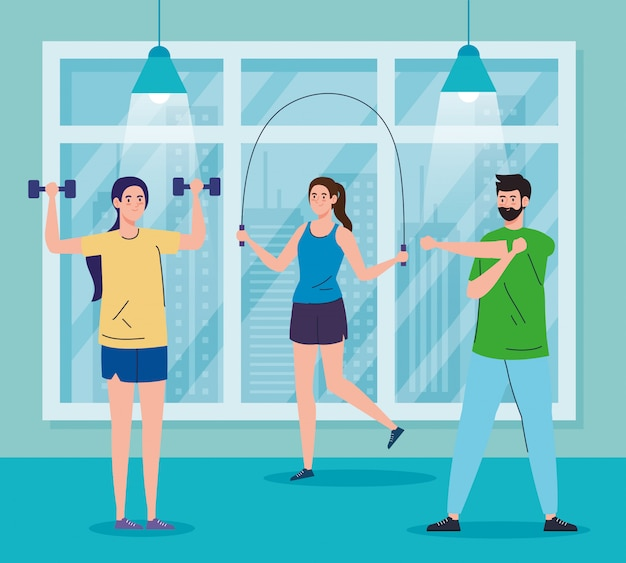 Exercise at home, people practicing sport, using the house as a gym