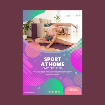 Modello di poster di esercizio a casa