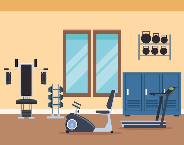 Exercise machines cartoons