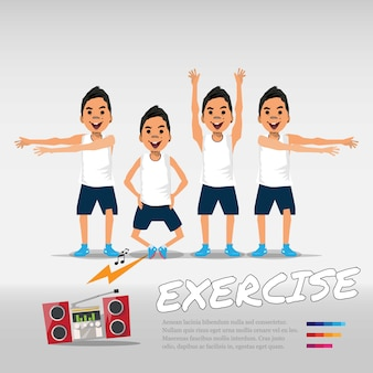 Exercise man with music stereo.