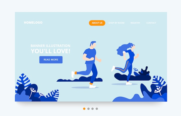 Exercise people landing page template