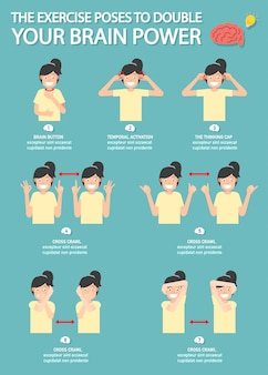 The exercise poses to double your brain power infographic