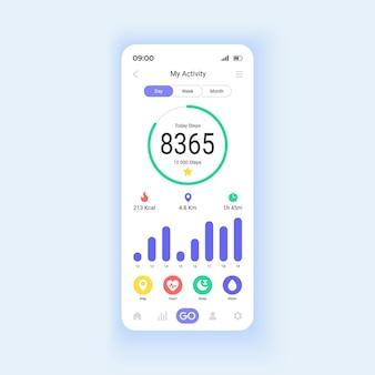 운동 추적기 스마트폰 인터페이스 벡터 템플릿입니다. 모바일 앱 페이지 디자인 레이아웃입니다. 스포츠에서 유용한 기능. 스마트폰 화면에서 신체 측정. 응용 프로그램에 대한 평면 ui. 전화 디스플레이