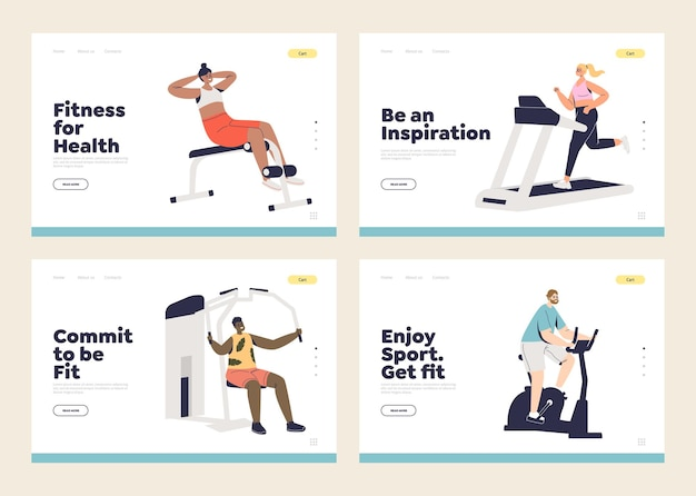 Exercise and workout concept of set of landing pages templates with fit and healthy people training in gym. healthy lifestyle, sport and fitness