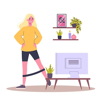 運動トレーニング。体の健康とトレーニングのアイデア。健康的な生活様式。機器を使ったトレーニング。漫画のスタイルのイラスト