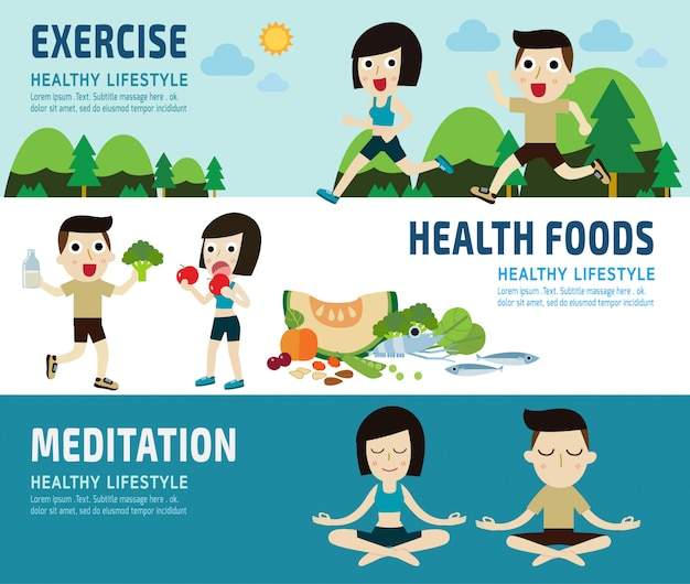Exercisehealthy foods banner header