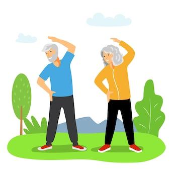 Упражнения для пожилых пожилая женщина и пожилой мужчина занимаются фитнесом на свежем воздухе здоровое