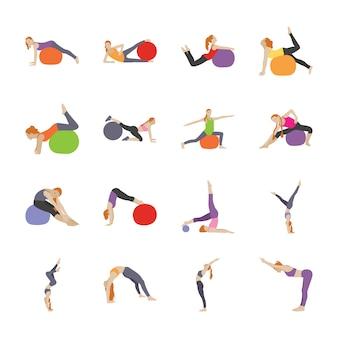 Упражнения позы плоские иконки
