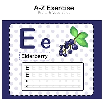 Exercises sheet for kids, alphabet e. exercise with cartoon vocabulary illustration, elderberry