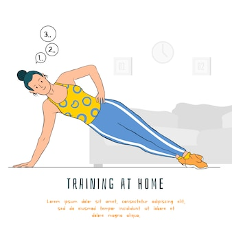 Exercising at home concept