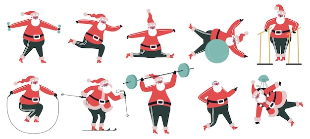 운동하는 산타클로스. 스포티한 귀여운 산타 캐릭터, 겨울 피트니스 운동 벡터 일러스트레이션 세트를 하고 있습니다. 산타 클로스 스포츠 활동입니다. 크리스마스 겨울과 크리스마스 해피 산타는 아령으로 피트니스를 합니다.