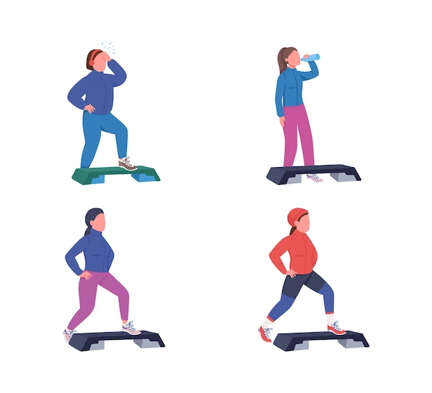 Exercising women flat color faceless character set. fitness workout with deck. sports training. step up aerobics isolated cartoon illustration for web graphic design and animation collection