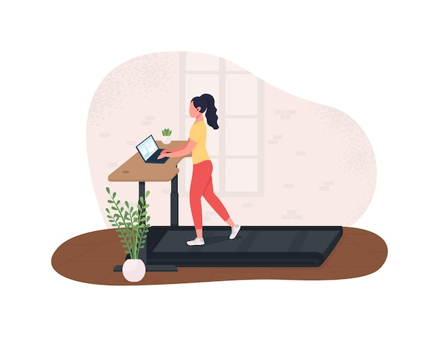 Exercising at work 2d illustration