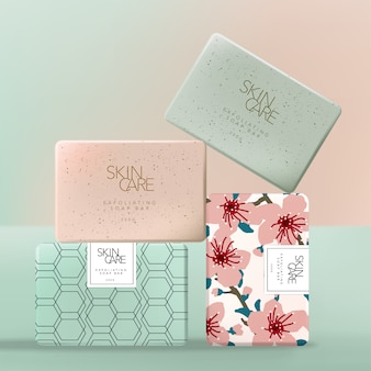 Exfoliating or scrubbing soap wrap paper packaging with japanese sakura floral blossom or geometric pattern. pink & green.