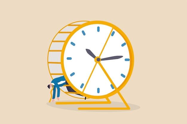 일상적인 업무로 인한 지치고 피로, 과로, 시간 관리 문제 개념, 지친 사업가가 햄스터 쥐 경주에서 시간을 달리는 시계로 누워 있습니다.